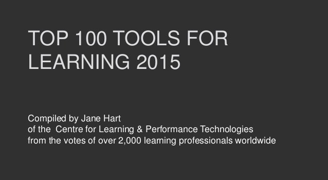 Top 100 Tools for Learning 2015 și vot pentru Top 100 Tools for Learning 2016